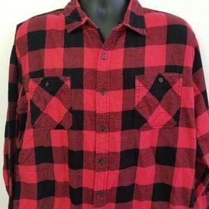 Buffalo Plaid Cotton Flannel Shirt Mens XXL